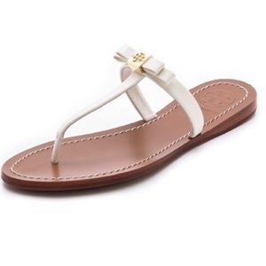 Tory Burch Leighanne Bow Thong Sandals Ivory
